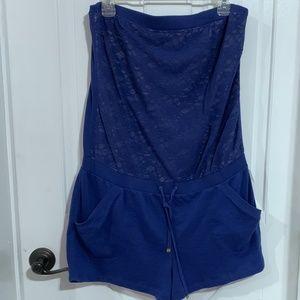 EUC Victoria's Secret Lace Strapless Romper Navy